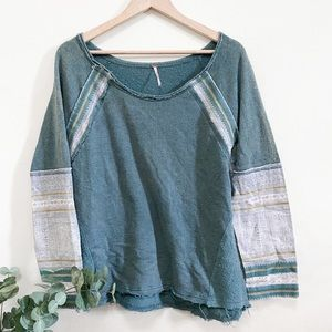 ✨BOGO✨ Free People Teal Raw Hem Sweatshirt